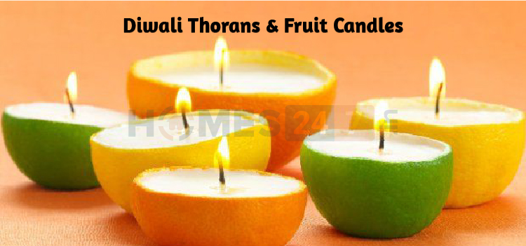 diwali thorans and fruit candles