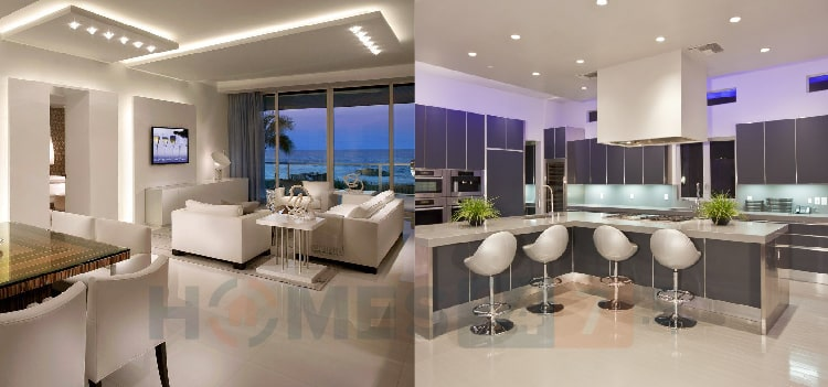 Indoor lighting for kitchen and living room