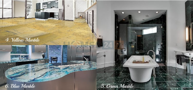 Types of Marble Flooring - Blue , Yellow & Green Marble
