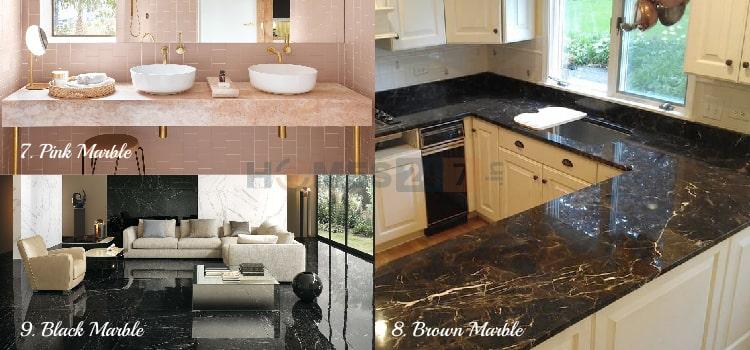 Marble Flooring - Black , Pink & Brown Marble